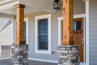 Gorgeous Front Porch Wood And Stone Columns Home Exteriors for dimensions 1365 X 2048