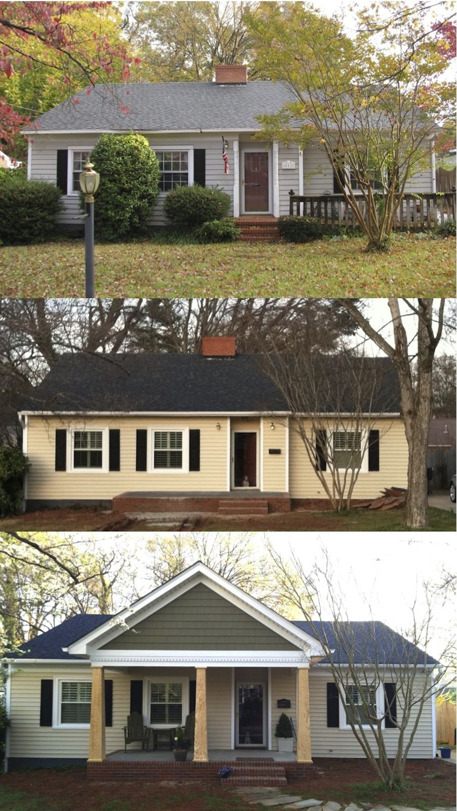 Add Front Porch Before And After • Porches Ideas
