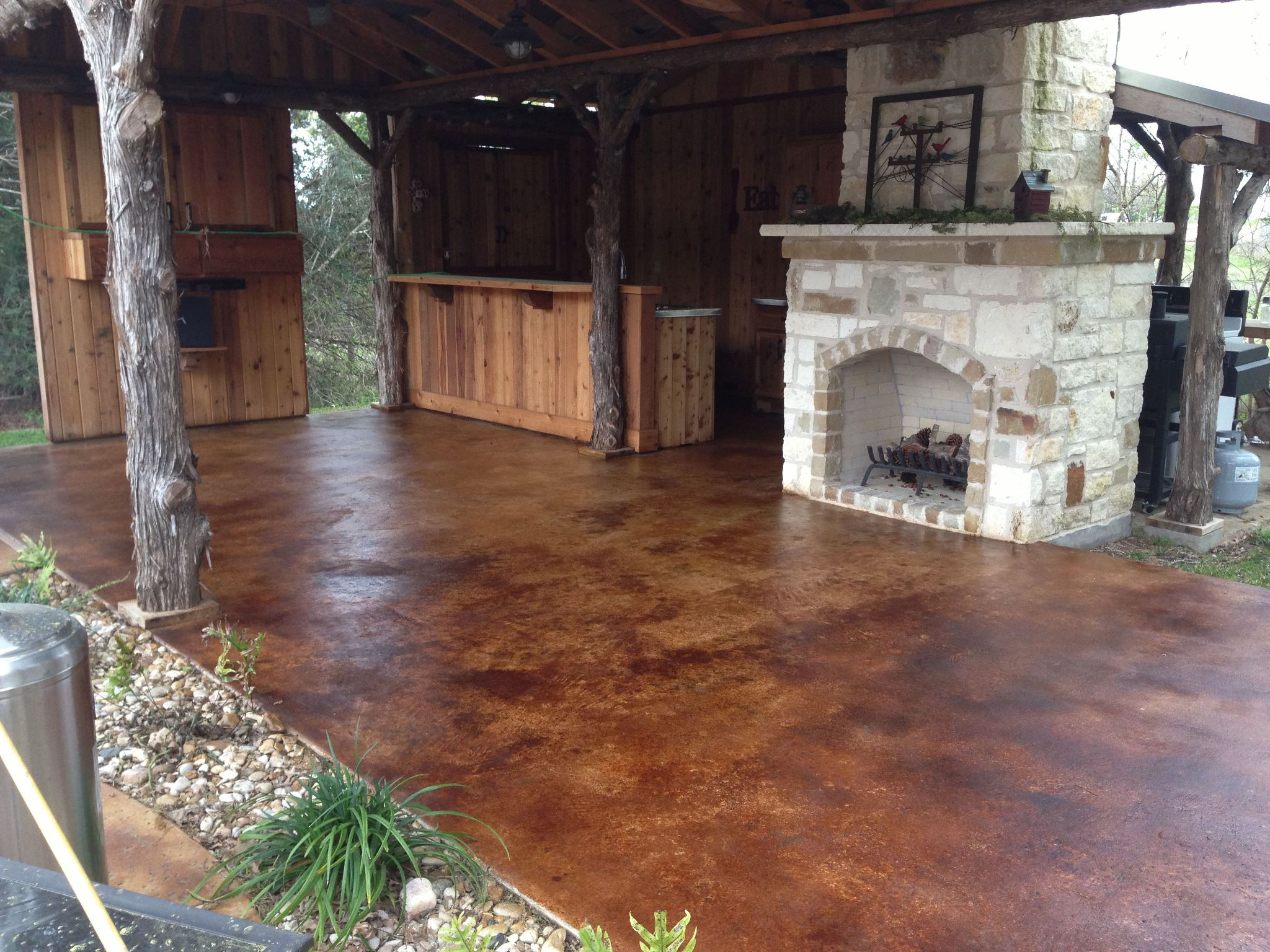 Staining Concrete Back Porch Porches Ideas
