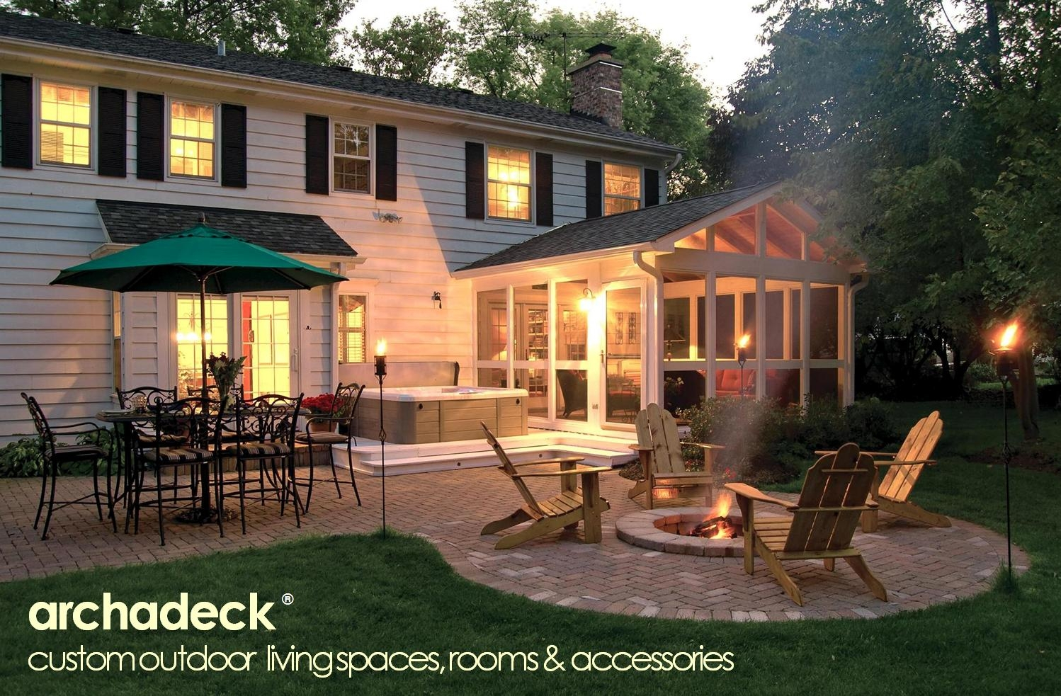 Screen Porch Hot Tub Deck Patio Firepit Combo Back Decks For inside sizing 1498 X 983