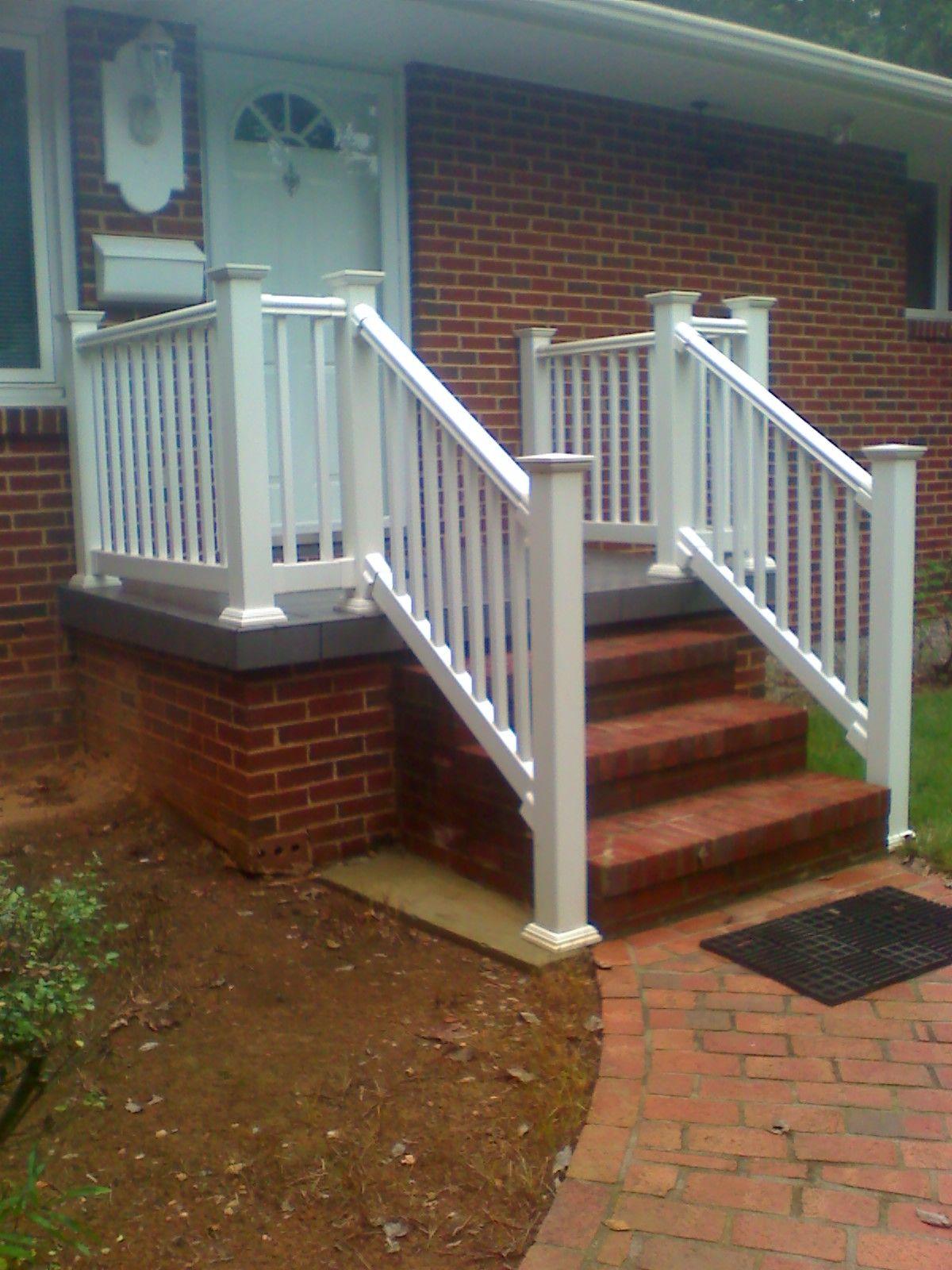 White Railing On A Concrete Porch Boling Front Porch Tile